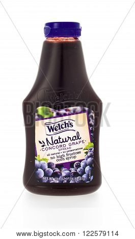 Winneconne WI - 7 February 2015: Plastic bottle of Welch's Natural Concord Grape Jam.