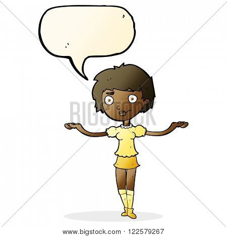 cartoon woman spreading arms with speech bubble