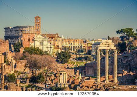 View on forum romanum in Rome, Italy