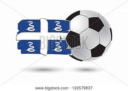 Soccer Ball And Martinique Flag With Colored Hand Drawn Lines