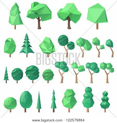 large collection of various polygonal angular volumetric trees vector illustration