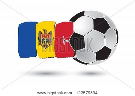 Soccer Ball And Moldova Flag With Colored Hand Drawn Lines