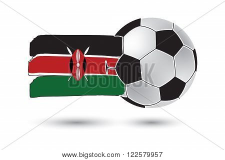 Soccer Ball And Kenya Flag With Colored Hand Drawn Lines