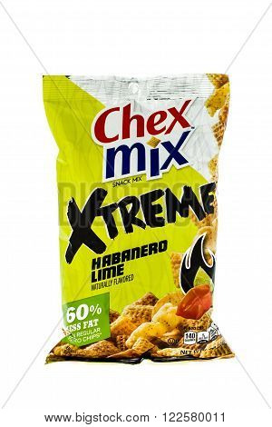 Winneconne WI - 4 February 2015: Bag of Chex Mix Xtreme Habanero Lime snack mix. Created in 1985 as pre-packaged and is now owned by General Mills.
