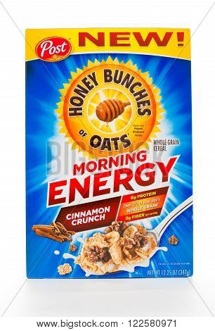 Winneconne WI - 7 February 2015: Box of Honey of Oats Cinnamon Crunch cereal a product of Post.