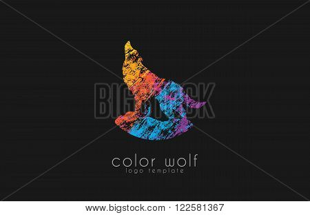 Wolf logo. Color wolf logo design. Animal logo.
