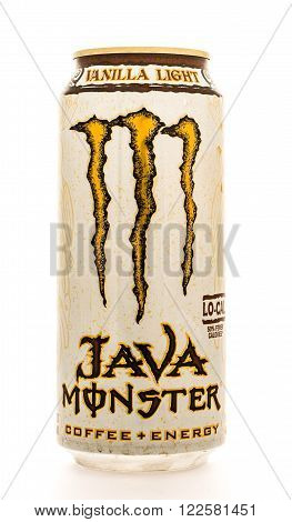 Winneconne WI - 12 August 2015: Can of Java Monster coffe enery drink in vanilla light flavor.