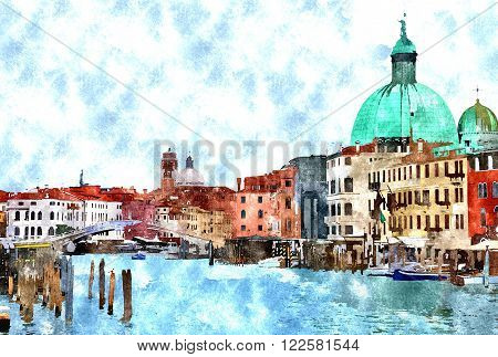 Abstract watercolor digital generated painting of the main water canal houses and gondolas in Venice Italy.