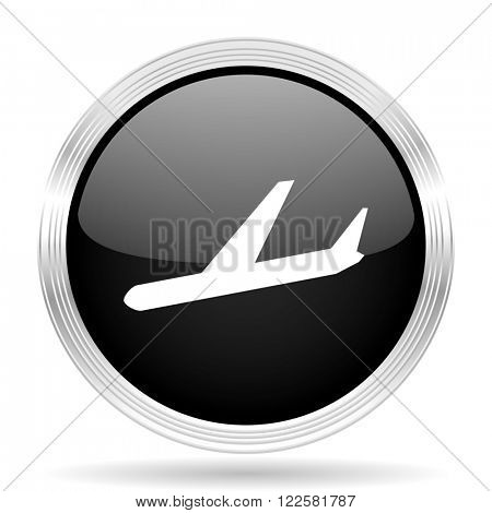 arrivals black metallic modern web design glossy circle icon