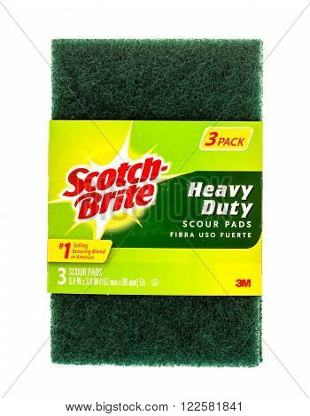Winneconne WI -19 Sept 2015: Package of scotch brite heavy duty scour pads.