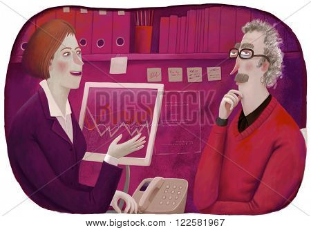 An illustration of a male client and a female consultant sitting in the office discussing a  plan.