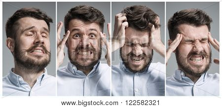 Set of young man's portraits with  negative emotions  on gray background