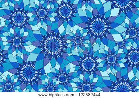 Seamless pattern with blue floral guilloche. Seamless guilloche pattern. Seamless floral pattern. Blue seamless background. Guilloche design line art pattern. Vector illustration