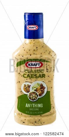 Winneconne WI - 30 January 2015: Bottle of Kraft Classic Ceasar salad dressing. Kraft was founded in 1903 and is located in Northfield IL.