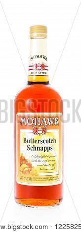 Winneconne WI - 21 February 2015: Bottle of Mohawk Butterscotch Schnapps alcohol beverage