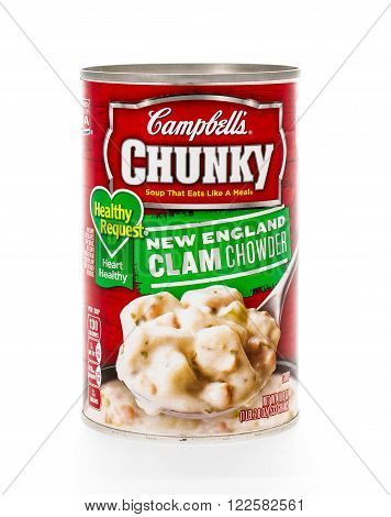 Winneconne WI - 7 February 2015: Can of Campell's Chunky Healthy Request New England Clam Chowder soup.