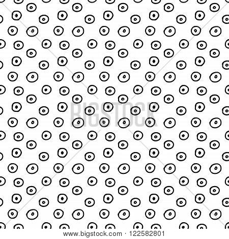 Monochrome seamless vector pattern with hand drawn polka dots for fabric, cards, invitations, wrapping paper, stationery and web backgrounds. Black and white whimsical vintage ornament with circles.