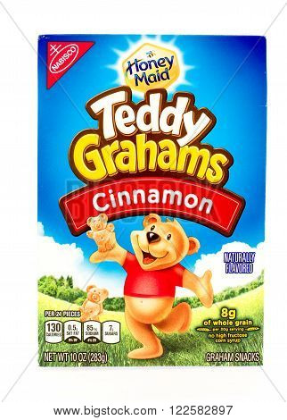 Winneconne WI - 29 August 2015: Box of Teddy Grahams in cinnamon flavor