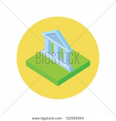 Isometric bank office symbol icon. Banking concept in flat design. 3d bank building, finance house, money home icon, banker bank interior, business house. Isometry bank icon. Vector illustration