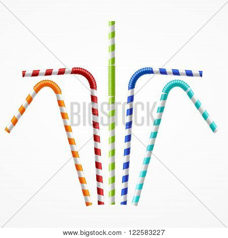 Striped Colorful Drinking Straws Set. Vector illustration