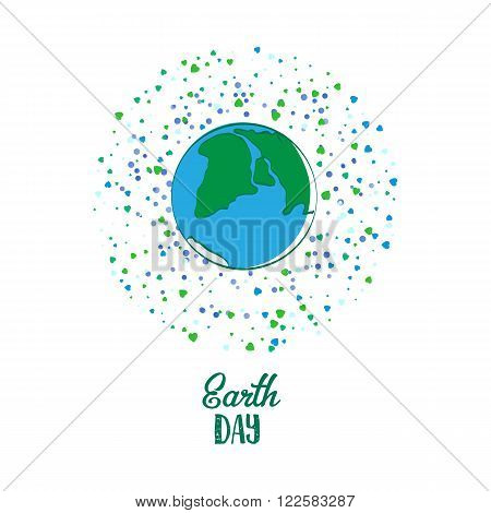 Creative World Environment Day Greeting stock vector card. Earth Day. April holiday illustration with cartoon earth planet and typography tag. Save green earth sign. Eco friendly day. Love green icon.