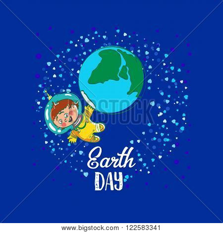 Creative World Environment Day Greeting stock vector art. Earth Day space kids illustration with planet and astronaut. April holiday illustration with cartoon earth planet, young astronaut, and typography tag. Save green earth card.