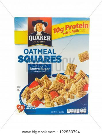 Winneconne WI - 5 February 2015: Box of Oatmeal Squares cereal. Oatmeal Squares is owned by the Quacker Oats Comapny.