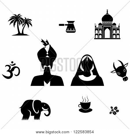 set of objects in black on the theme of Indian culture.
