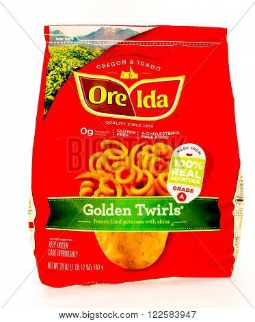 Winneconne WI - 29 August 2015: Bag of Ore Ida golden twirls made from 100% potatoes.