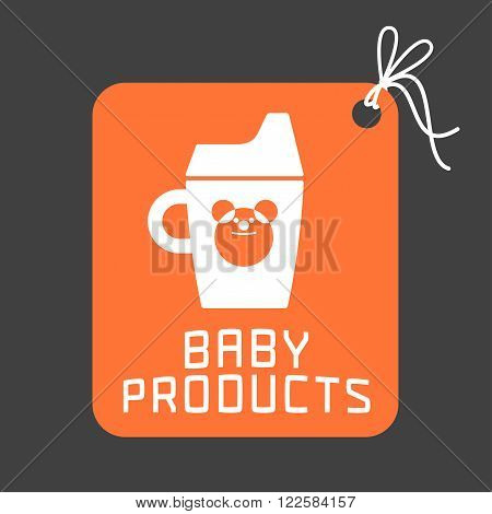 Baby products vector logo. Emblem with cute sippy cup for a shop company or product. Design element for flyers posters web