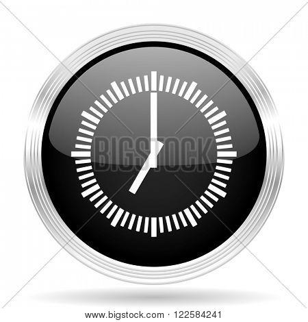 time black metallic modern web design glossy circle icon