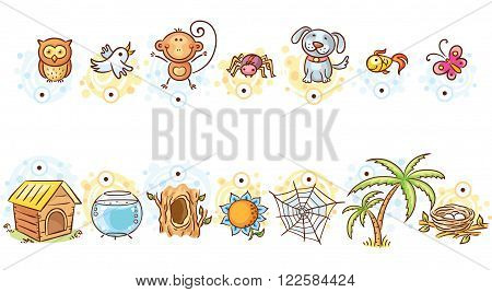 Animals and their homes matching game vector