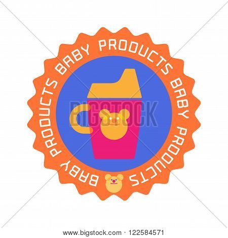Vector baby shop logo. Baby store company or products stamp emblem. Drinking bottle image