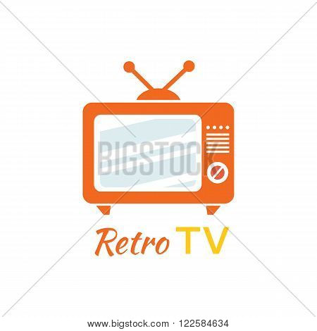 Retro tv logo design flat icon. Vintage tv, old tv, retro television, television antenna, screen tv logo, old media tv video, show tv screen, display broadcast vector illustration