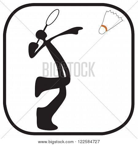 Shadow man playing badminton cartoon acting sport logo and symbol graphic design