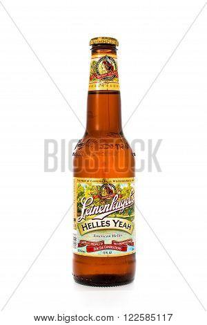 Winneconne WI - 6 February 2015: Bottle of Leinenkugel's Helles Yeah beer brewed in Wisconsin.