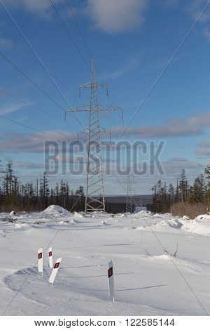 power lines  in the winter in good weather