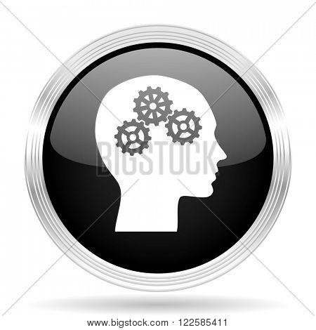 head black metallic modern web design glossy circle icon