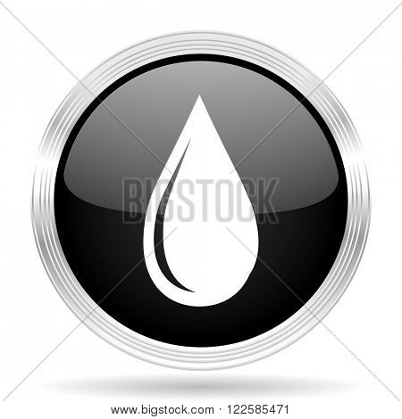water drop black metallic modern web design glossy circle icon