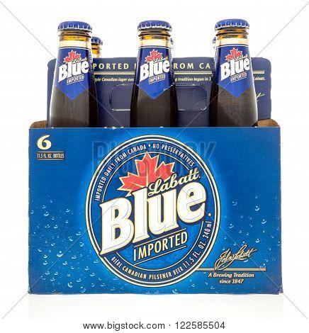 Winneconne, WI -24 Oct 2015: Six pack of Labatt Blue beer from Canada.
