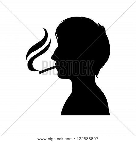 Smoker silhouette. Vector man with cigarette. Icon or sign. Adult men profile.