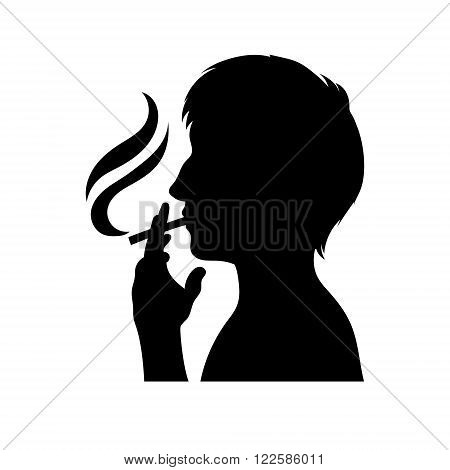 Smoker silhouette. Vector man with hand and cigarette. Icon or sign. Adult men profile.