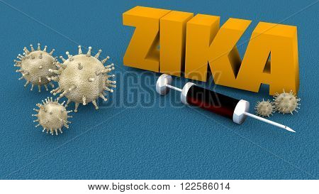 Abstract virus image on backdrop and zika text. Zika virus danger relative illustration. Medical research theme. Virus epidemic alert.