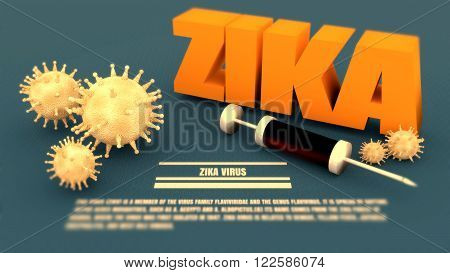 Abstract virus image on backdrop and zika text. Zika virus danger relative illustration. Medical research theme. Virus epidemic alert. Blurred description text