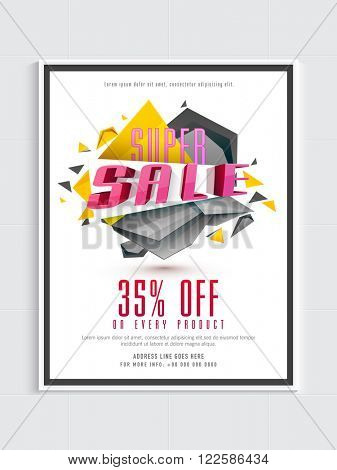 Super Sale Flyer, Banner or Pamphlet with 35% discount offer on every products.