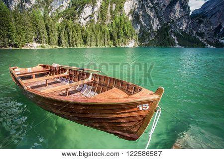 Lake Braies (Lago di Braies), Dolomites, South Tyrol, Italy,  focus on the boat