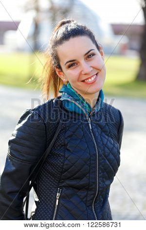 Picture of a beautiful young woman outdoor