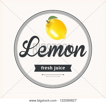 Lemon juice. Detailed Vector label. Series of food and drink.