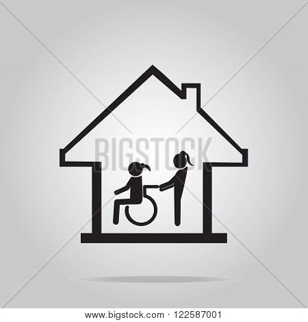 Disabled care Nursing home sign icon a woman pushing wheelchair of woman patient.
