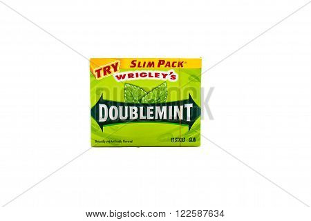Winneconne WI - 7 February 2015: Pack of Wrigley's Doublemint gum in a slim pack.
